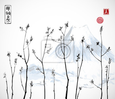 Black Tree branches with fresh leaves with Fujiyama background. Traditional oriental ink painting sumi-e, u-sin, go-hua. Contains hieroglyphs - zen, freedom, nature, beauty