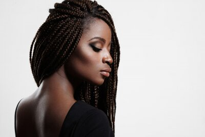 Canvas print black woman with braids and evening smokey eyes