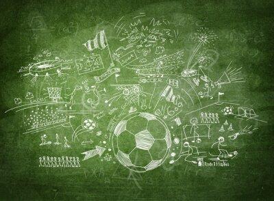 Canvas print Blackboard soccer concept