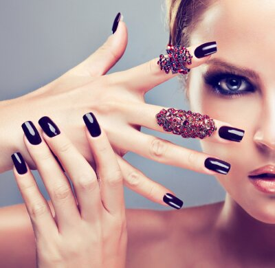 Canvas print Blonde model  with burgundy manicure