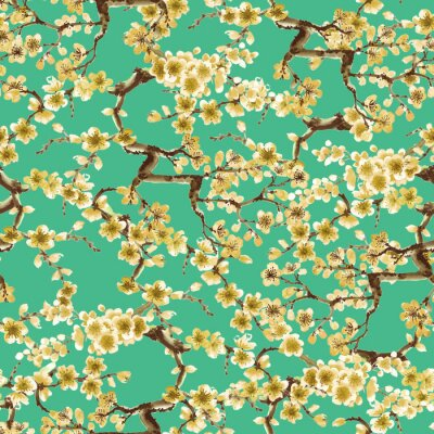 Blooming watercolor tree painted in japanese style on green background, seamless pattern