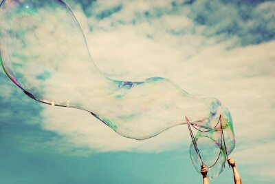 Canvas print Blowing big soap bubbles in the air. Vintage freedom, summer concepts.