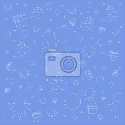blue background with symbols of Christmas and New year - gifts, Christmas balls, fir-trees, snowflakes, stars