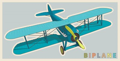 Canvas print Blue biplane in vintage and color stylization. Model aircraft propeller with two wings. Old retro aircraft designed for poster printing. Beautifully and realistically drawn vector flying biplane.