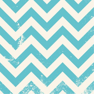 Canvas print blue chevron pattern with distressed texture