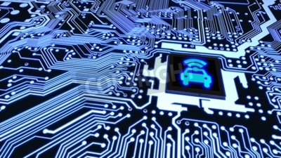 Canvas print Blue circuit board closeup connected to a cpu with a glowing car wifi symbol on top smart vehicle concept 3D illustration