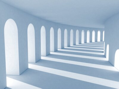 Canvas print Blue colonnade with deep shadows. Illustration