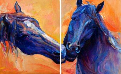 Canvas print Blue horses