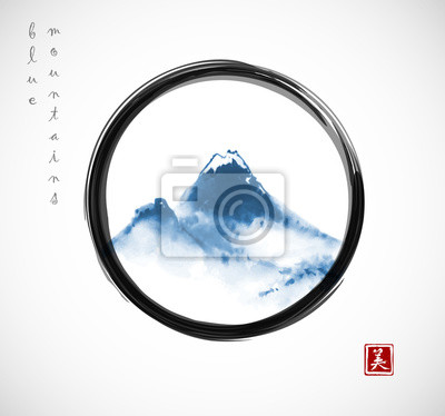 Blue mountains hand drawn with ink in black enso zen circle on white background. Traditional oriental ink painting sumi-e, u-sin, go-hua. Hieroglyph - beauty.