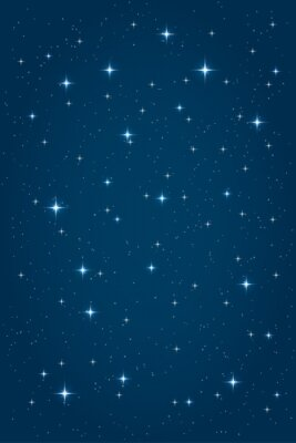 Canvas print Blue night starry background. Vector vertical design template