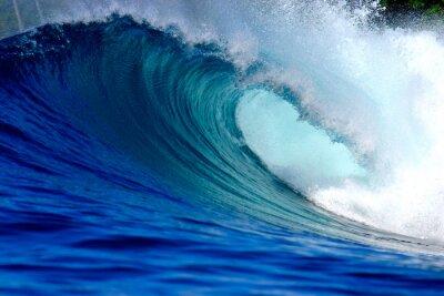 Canvas print Blue ocean surfing wave