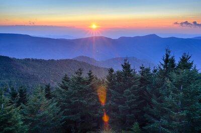 Canvas print Blue Ridge Parkway Autumn Sunset over Appalachian Mountains