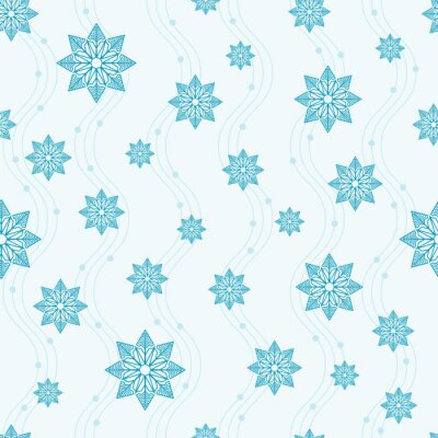 Blue snowflakes and waves on a white background. Seamless pattern. Pattern for fabric, wrapping paper for Christmas gifts. Vector