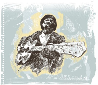 blues man with guitar