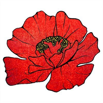 Canvas print Blurred red scarlet glitter flower poppy background texture