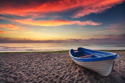 Canvas print Boat and sunrise