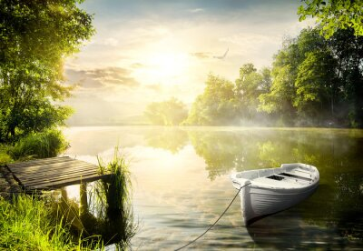 Canvas print Boat on the bank