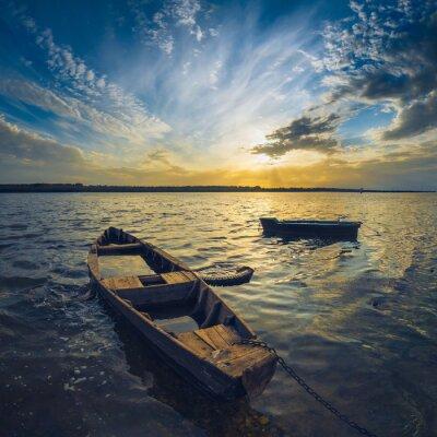 Canvas print Boats on a Volga river