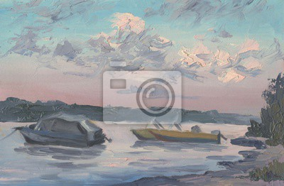 Boats on the river. Evening landscape. Oil painting