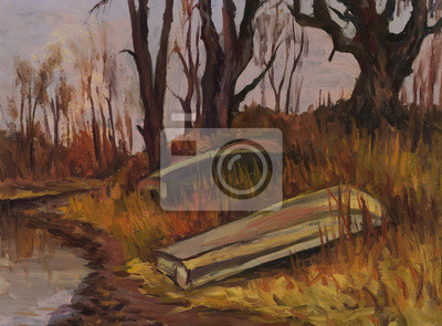 Boats under the trees on the banks of the river in autumn. Oil painting