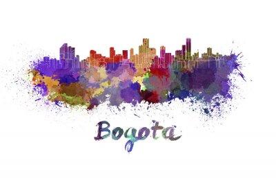 Canvas print Bogota skyline in watercolor
