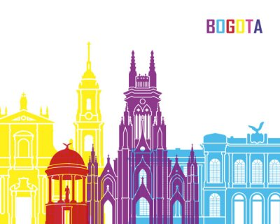 Canvas print Bogota skyline pop