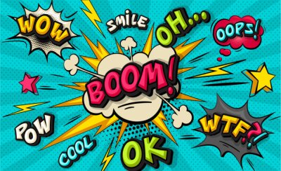 Canvas print Boom pop art cloud bubble. Smile, wow, pow, cool, ok, oops, wtf funny speech bubble. Trendy Colorful retro vintage background in pop art retro comic style. Illustration easy editable for Your design.