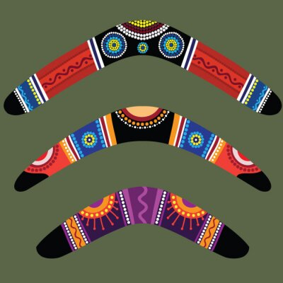 Canvas print Boomerangs with aboriginal design