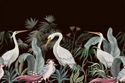 Canvas print Border in chinoiserie style with storks and peonies. Vector.
