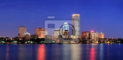 Boston city skyline at dusk