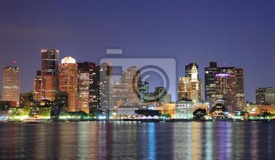 Boston downtown panorama at dusk