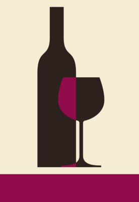 Canvas print Bottle of wine and glass. Wine list design