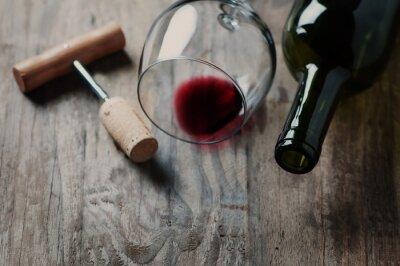 Canvas print Bottle of wine, cork and corkscrew