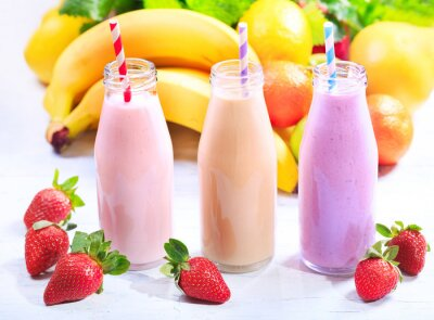 Canvas print  bottles of smoothie with fresh fruits