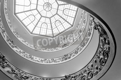 Bottom view of ornate spiral staircase in the the Vatican Museum