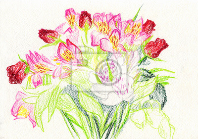 Canvas print bouquet of flowers. Drawing with colored pencils