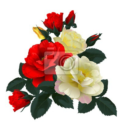 Canvas print Bouquet of red and yellow roses, isolated on white