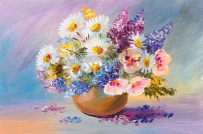 Canvas print bouquet of summer flowers, still life oil painting