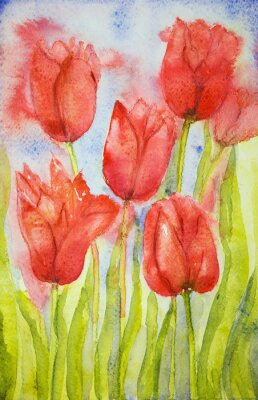 Canvas print Bouquet of tulips in a field. The dabbing technique near the edges gives a soft focus effect due to the altered surface roughness of the paper.
