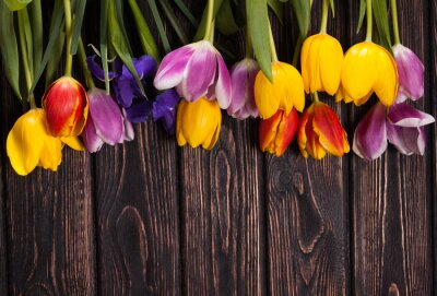 Canvas print bouquet of tulips on wood