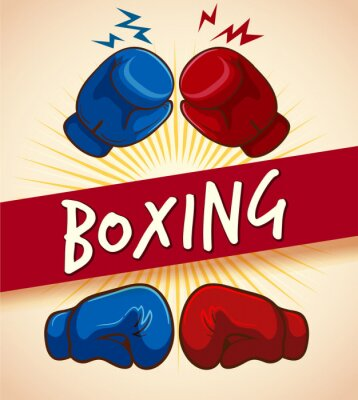 Canvas print Boxing gloves and banner