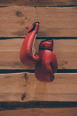 Canvas print Boxing gloves on the wall.