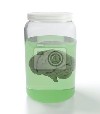 Canvas print Brain in jar with liquid