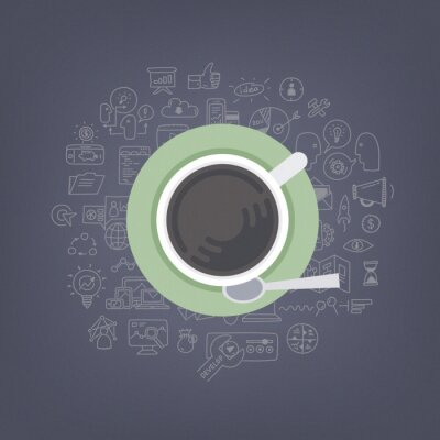 Canvas print Brainstorming ideas with coffee illustration