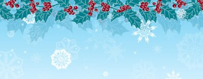 Branch of Holly on a background of falling snowflakes. Placement top