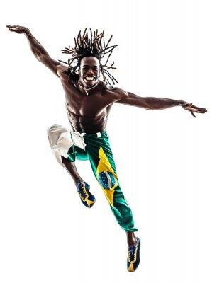 Canvas print brazilian  black man dancer dancing jumping  silhouette