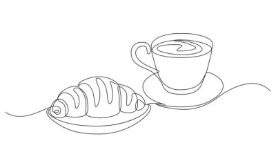 Canvas print breakfast with croissant and coffee drawn in one line style.