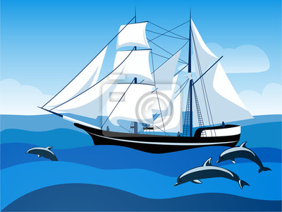 Brigantine raised sail in the blue sea with following dolphins. Sailboat under white sails. Vector illustration.