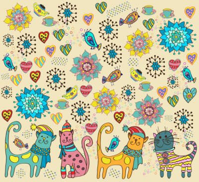 Canvas print Bright background with cats, flowers and hearts