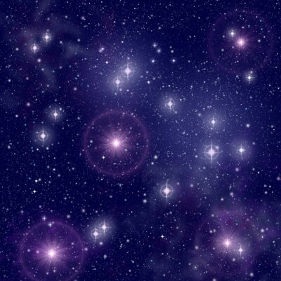 Canvas print Bright stars in deep space